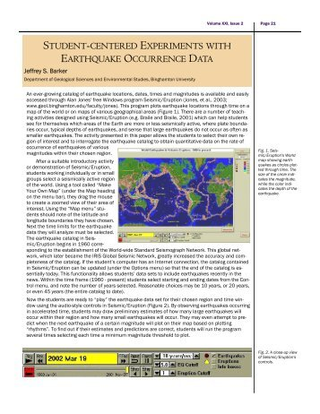 Seismic Eruption: Student Centered Experiments with ... - IRIS