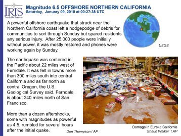 Magnitude 6.5 OFFSHORE NORTHERN CALIFORNIA - IRIS