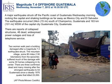 Magnitude 7.4 OFFSHORE GUATEMALA Wednesday - IRIS