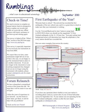 First Earthquake of the Year, Check-in Time! - IRIS