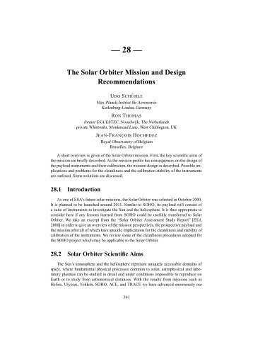 28 — The Solar Orbiter Mission and Design Recommendations