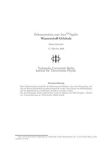 Dokumentation zum JavaTMApplet Wasserstoff-Orbitale Technische ...