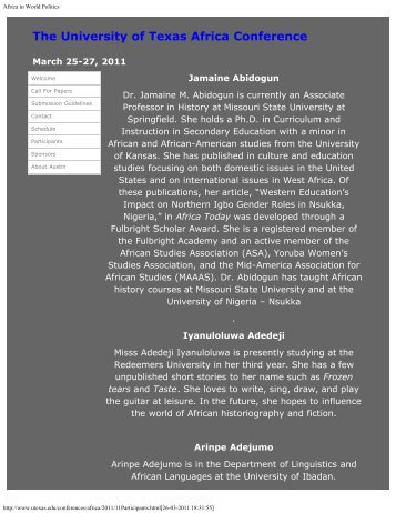 List of Participants - Stolten's African Studies Resources