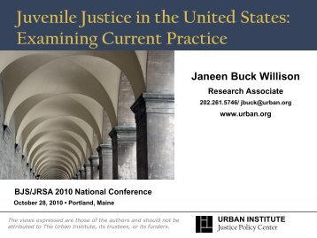 the importance of juvenile justice in the united states Juvenile crime facts crime and drug abuse are rated first and third as the biggest worries among americans according to a recent survey for the conference board, a research institute crimes reported to police declined slightly for the third year in a row during 1994, led by an eight percent drop in violent crime in cities with more than a million residents.