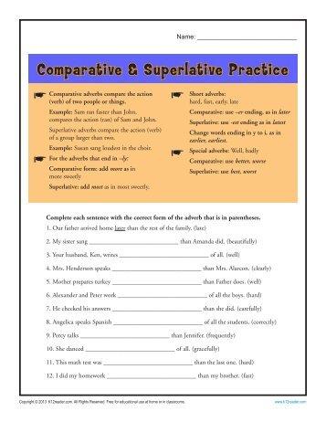 Comparative adjective worksheets for kindergarten