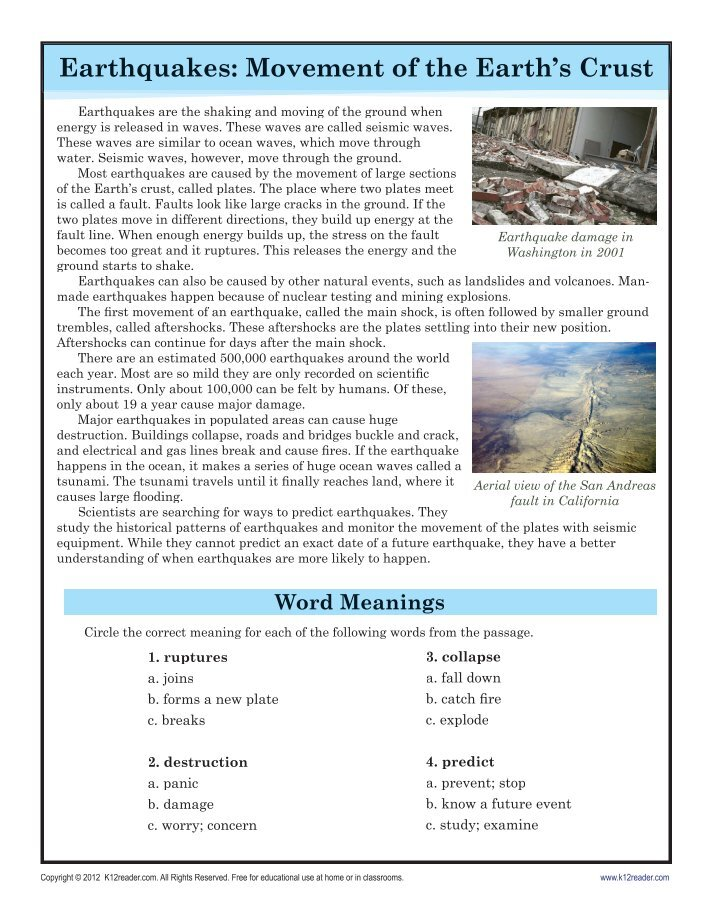 Earthquake worksheets for 2nd grade