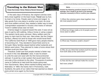 Cross curricular reading comprehension worksheets e 33 of 36