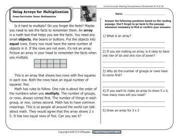 Cross curricular reading comprehension worksheets d 20 of 36