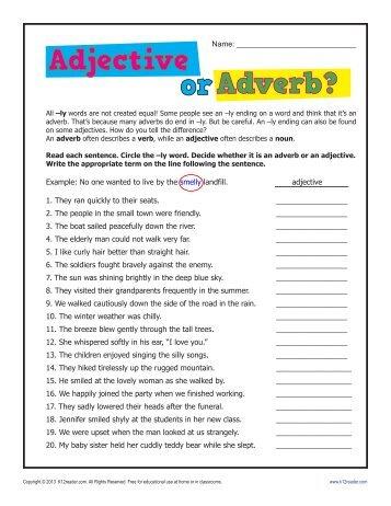 Adjectives worksheets pdf grade 6