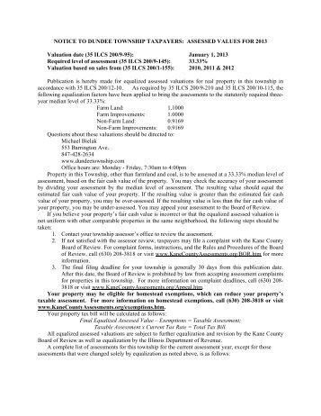 notice to dundee township taxpayers - Kane County Supervisor of ...