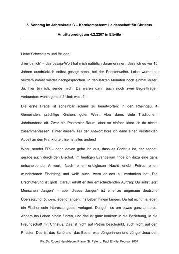 5. Sonntag Im Jahreskreis C - Katholische Pfarrgemeinde St. Peter ...