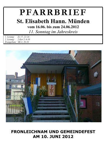 PFARRBRIEF - Katholische Pfarrgemeinde St. Elisabeth