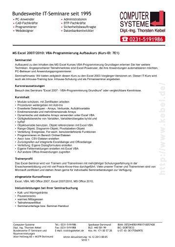 MS Excel 2007-2010 VBA-Programmierung Aufbaukurs PDF ...