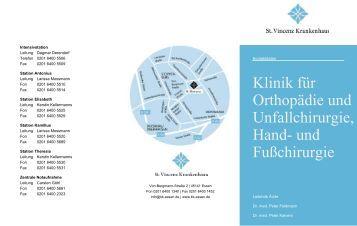 Kontaktdaten der Klinik für Orthopädie, Unfallchirurgie und Spezielle ...