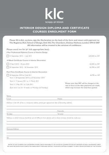 Diploma certificate request form ocad for Interior design certificate programs online