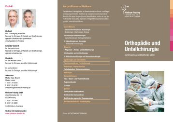 Flyer Unfallchirurgie - Klinikum Freising