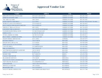 Approved Vendor List - Fleet
