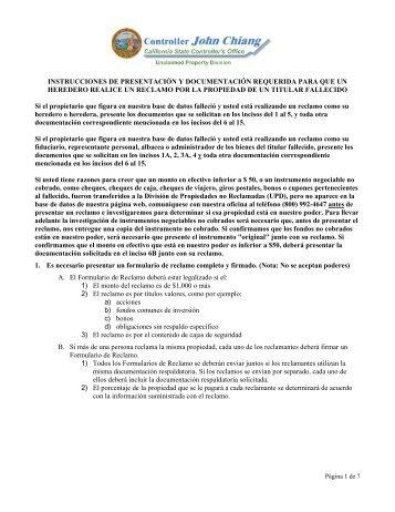 instrucciones de presentación y documentación requerida para que ...