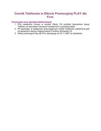 Cennik Telefonów w Ofercie Promocyjnej PLAY dla Firm. - Blog PLAY