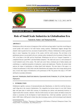 Role of Small Scale Industries in Globalisation Era - vsrd ...