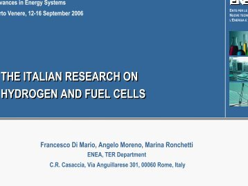THE ITALIAN RESEARCH ON HYDROGEN AND FUEL CELLS THE ...