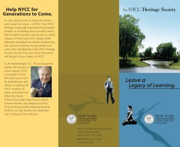 Leave A Legacy Of Learning. - New York Chiropractic College