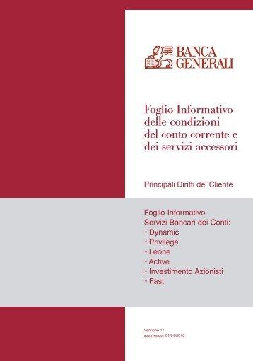 Prospetto informativo Banca Generali Conto Leone (PDF) - Sos Tariffe