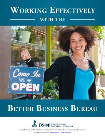 Working with the BBB - Direct Selling Education Foundation