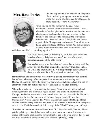 Historical Thinking Matters: Rosa Parks