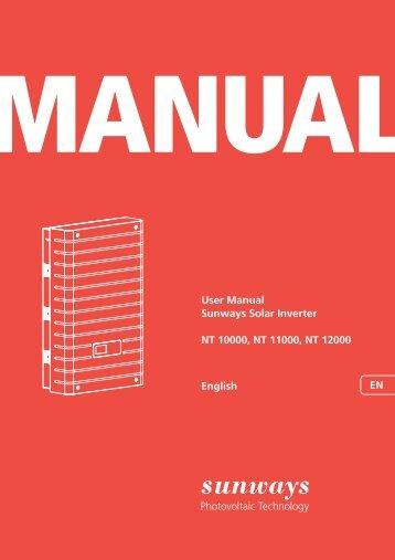 Manual Sunways Solar Inverter NT 10000...NT 12000 ... - Sunways AG
