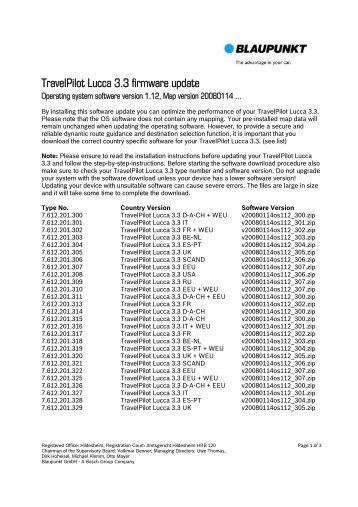 TravelPilot Lucca 3.3 firmware update - Blaupunkt