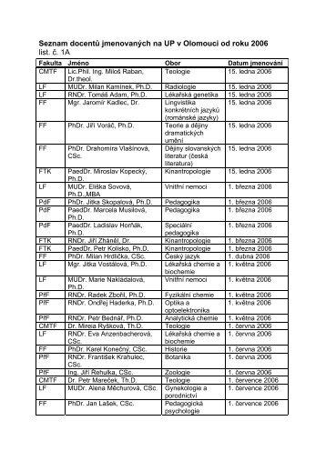 Seznam docentů jmenovaných na UP v Olomouci od roku 2006 list ...
