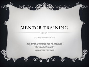Mentor training - U.S. Public Health Service Commissioned Corps
