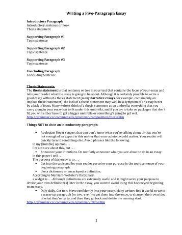 5 paragraph narrative essay