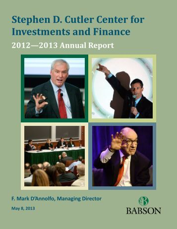 Cutler Center 2012-2013 Annual Report - Babson College