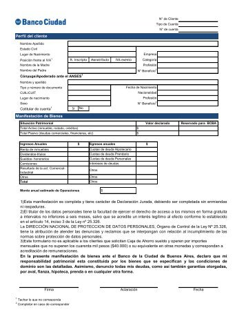 Formulario General - Banco Ciudad