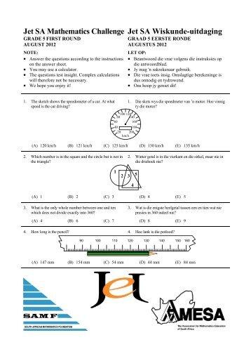 Jet SA Mathematics Challenge Jet SA Wiskunde-uitdaging - AMESA