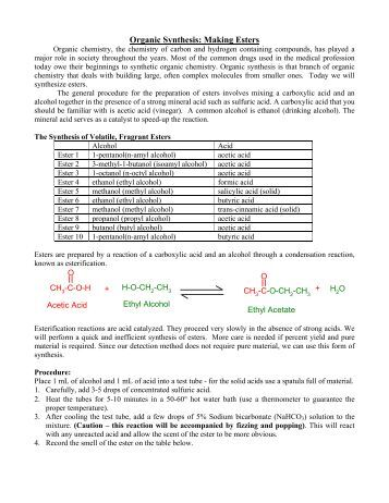 synthesis of esters Synthesis of carboxylic acid esters after reading this primer on synthesis of carboxylic acids esters i came away with some questions.