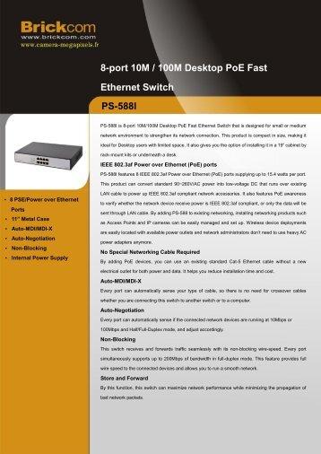 PS-588I 8-port 10M / 100M Desktop PoE Fast Ethernet Switch
