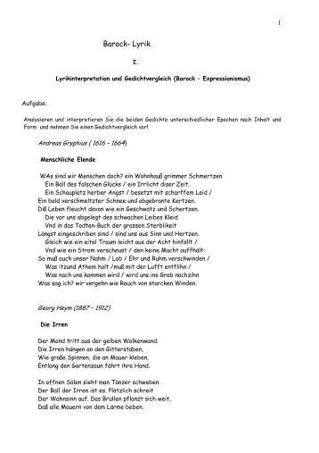 Interpretation Barock Lyrik - Lyrikschadchen.de