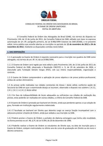 Edital do IX Exame de Ordem Unificado - OAB/MG