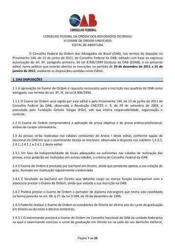 Edital do VI Exame de Ordem Unificado - Versão Final - Ordem dos ...