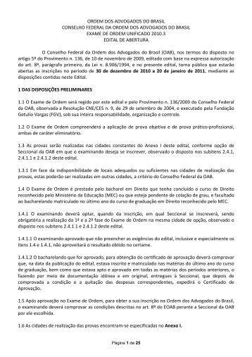 Veja o Edital - Ordem dos Advogados do Brasil