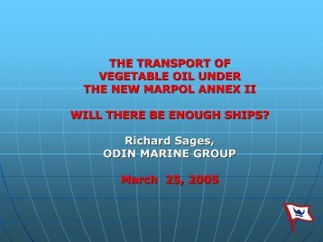 THE TRANSPORT OF VEGETABLE OIL UNDER THE NEW ...