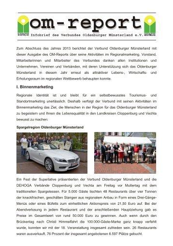 om-report 2013 - Verbund Oldenburger Münsterland