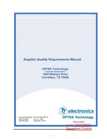 Jtekt north america koyo jtekt group supplier quality for Supplier quality manual template