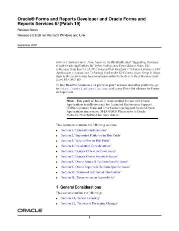 Oracle® Forms and Reports Developer and Oracle Forms