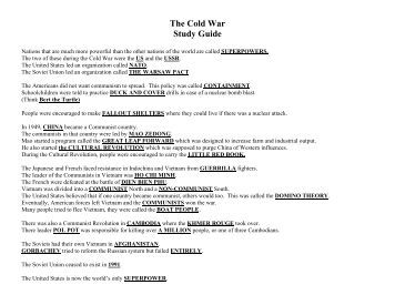 cold war discussion questions Cold war essay choose one of the following questions below for your essay topic be sure to answer in proper essay form with an introduction, at least three reasons with supporting evidence.