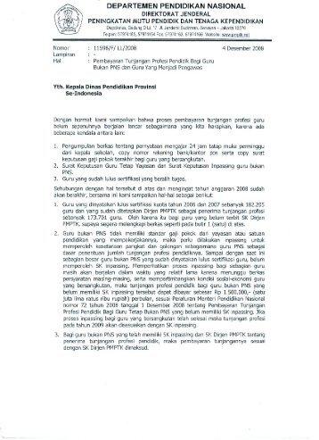 Surat Dirjen Perihal Tunjangan Bagi Pengawas - Pendis kemenag RI