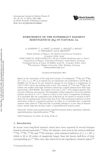 Enrichment of the Superheavy Element Rg in Natural Au